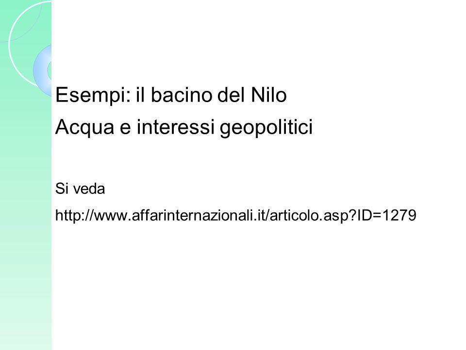 Esempi: il bacino del Nilo Acqua e interessi geopolitici Si veda http://www.affarinternazionali.it/articolo.asp?ID=1279