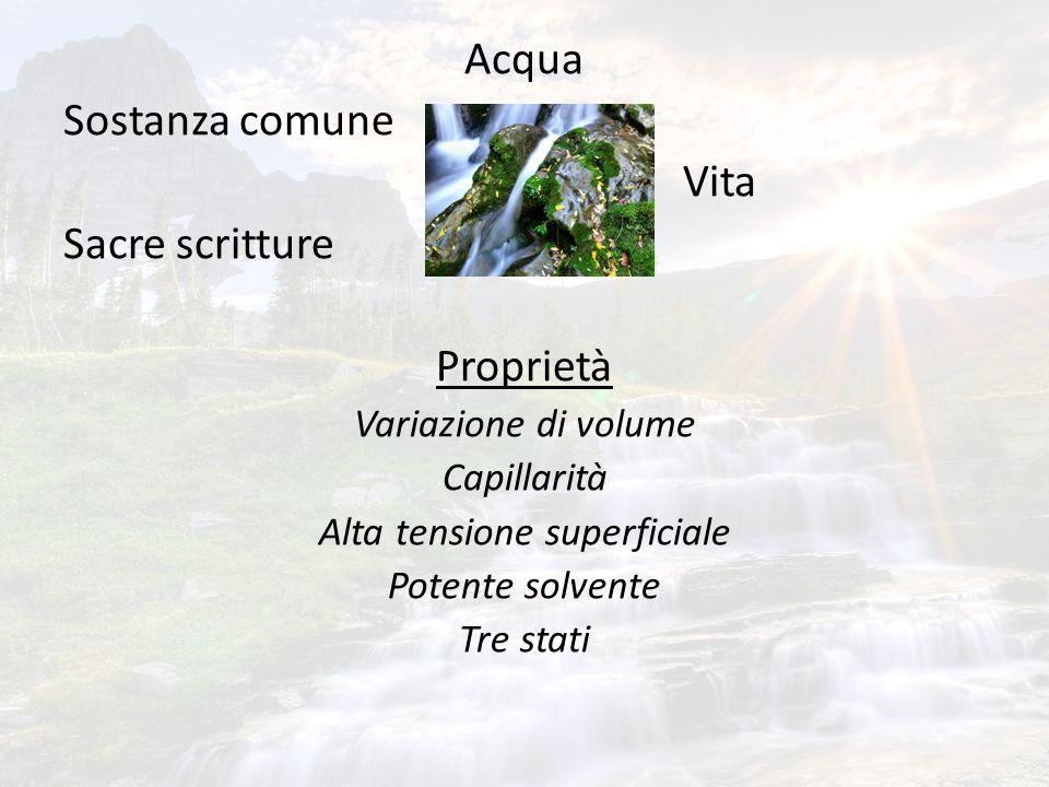 Acqua Sostanza comune Vita Sacre scritture Proprietà Variazione di volume Capillarità Alta tensione superficiale Potente solvente Tre stati