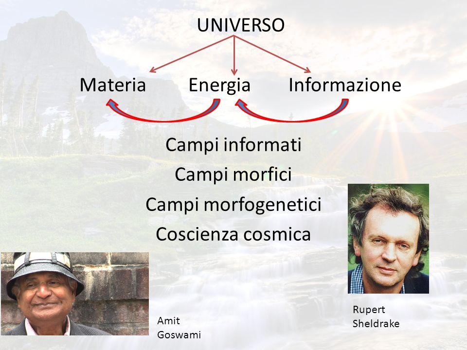 UNIVERSO Materia Energia Informazione Campi informati Campi morfici Campi morfogenetici Coscienza cosmica Amit Goswami Rupert Sheldrake