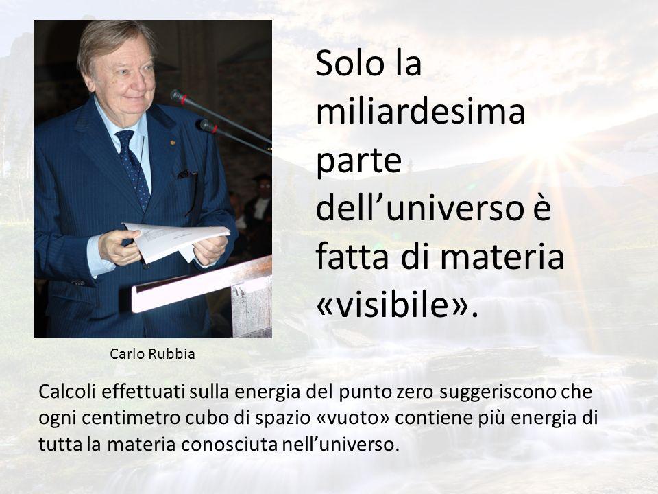 Solo la miliardesima parte delluniverso è fatta di materia «visibile». Calcoli effettuati sulla energia del punto zero suggeriscono che ogni centimetr