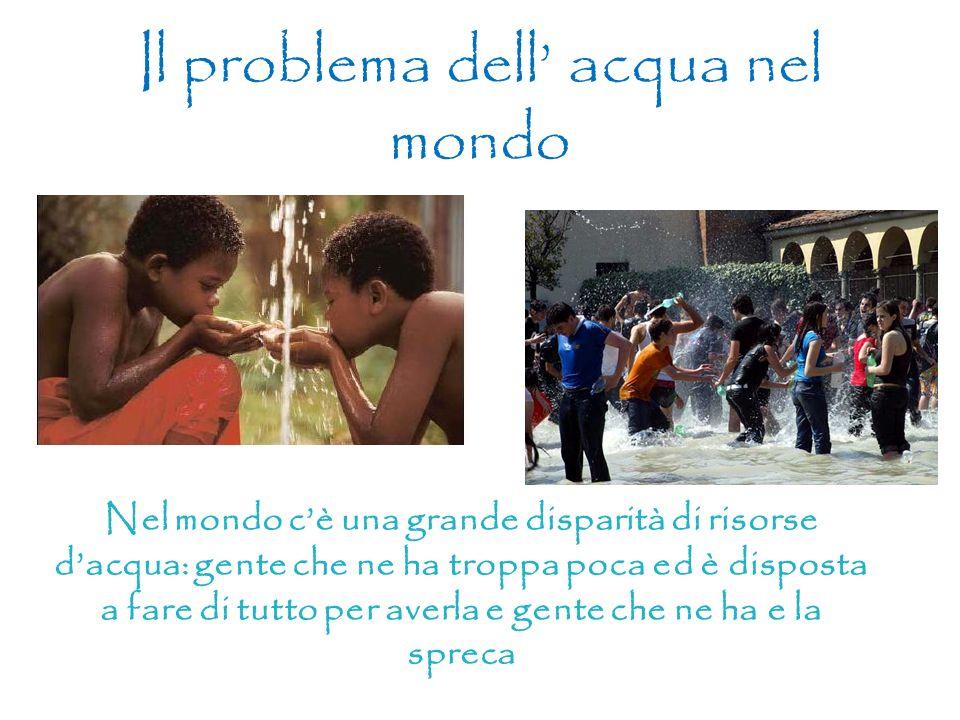 Il problema dell acqua nel mondo Nel mondo cè una grande disparità di risorse dacqua: gente che ne ha troppa poca ed è disposta a fare di tutto per av