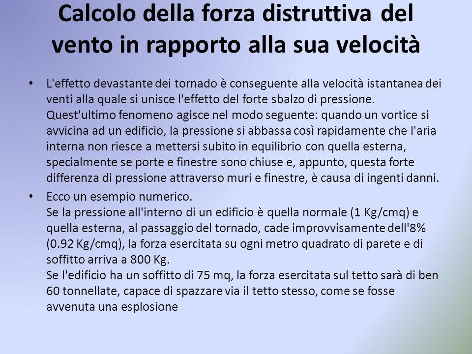 Calcolo della forza distruttiva del vento in rapporto alla sua velocità L'effetto devastante dei tornado è conseguente alla velocità istantanea dei ve