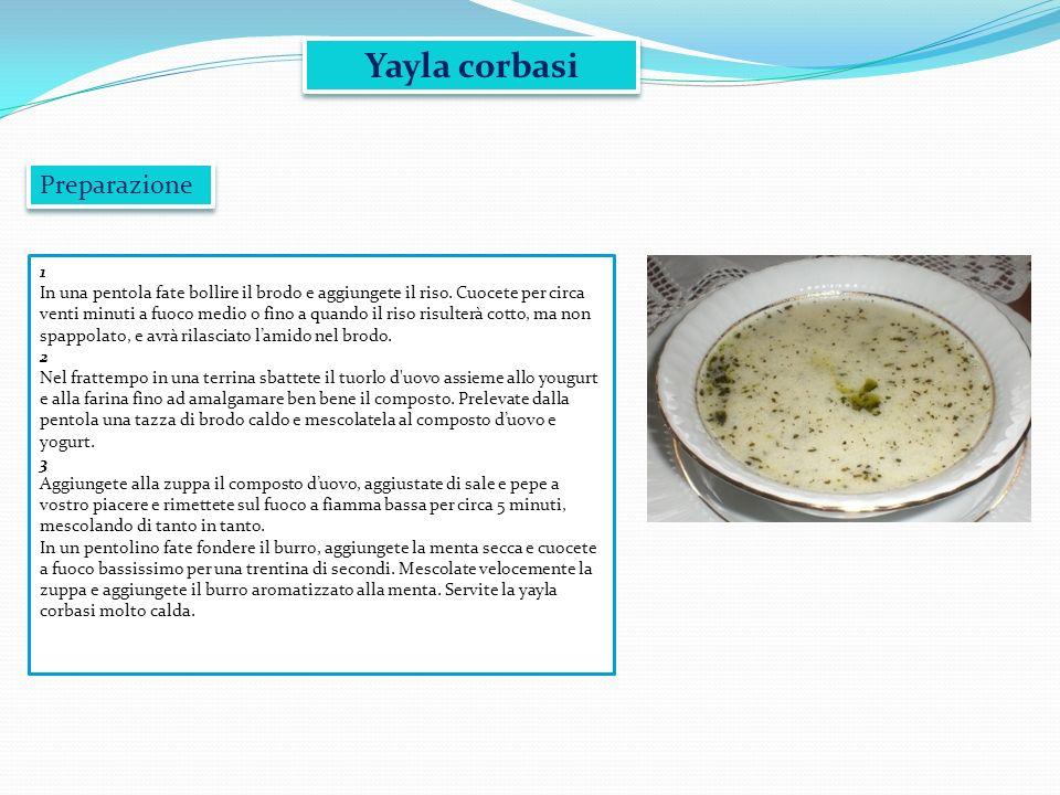 Yayla corbasi 1 In una pentola fate bollire il brodo e aggiungete il riso. Cuocete per circa venti minuti a fuoco medio o fino a quando il riso risult