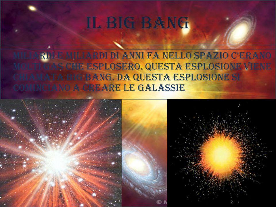 Il big bang Miliardi e miliardi di anni fa nello spazio cerano molti gas che esplosero. questa esplosione viene chiamata big bang. Da questa esplosion