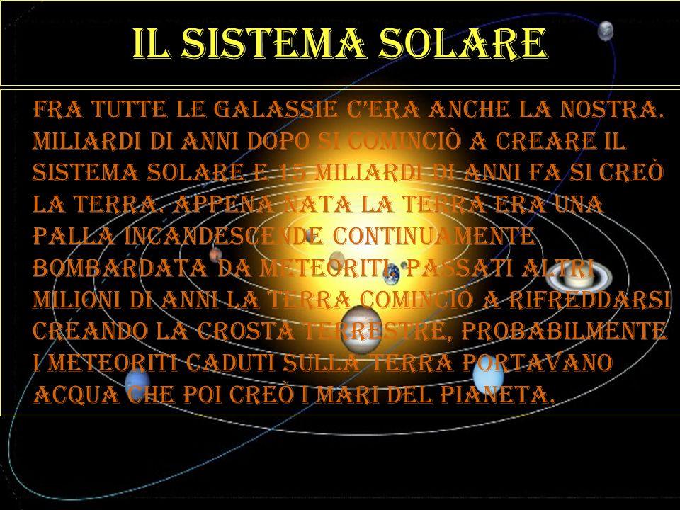 Il sistema solare Fra tutte le galassie cera anche la nostra. Miliardi di anni dopo si cominciò a creare il sistema solare e 15 miliardi di anni fa si