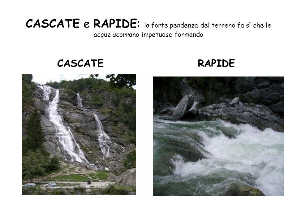 CASCATE e RAPIDE: la forte pendenza del terreno fa sì che le acque scorrano impetuose formando CASCATERAPIDE