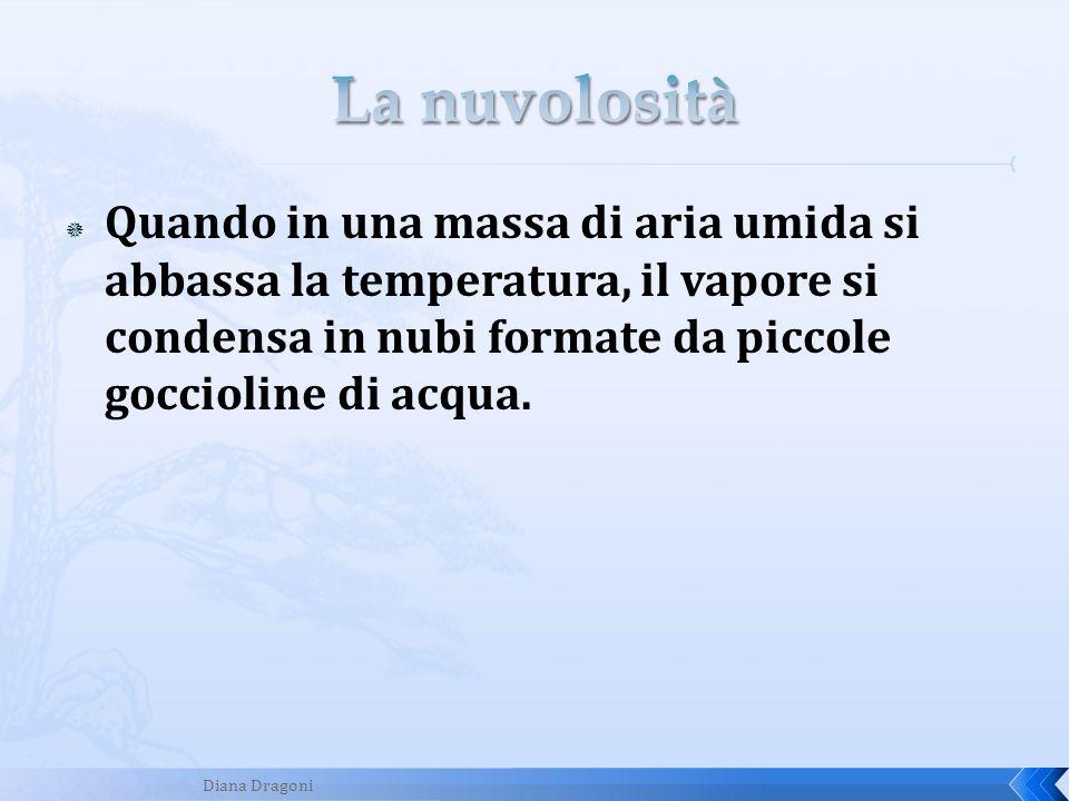 Quando in una massa di aria umida si abbassa la temperatura, il vapore si condensa in nubi formate da piccole goccioline di acqua. Diana Dragoni