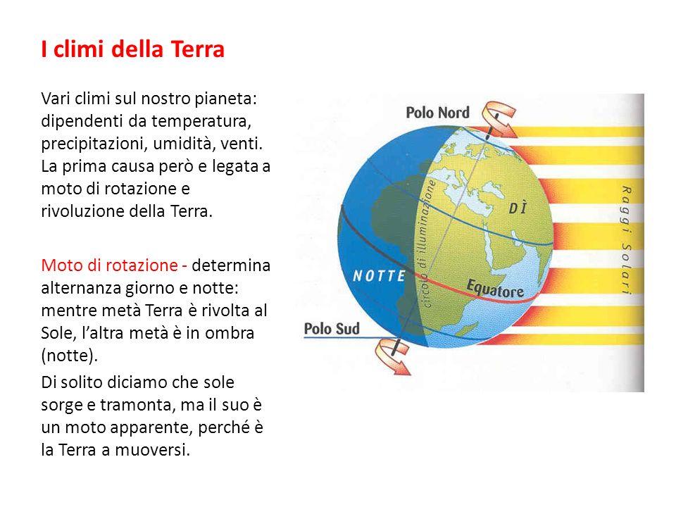 I climi della Terra Vari climi sul nostro pianeta: dipendenti da temperatura, precipitazioni, umidità, venti. La prima causa però e legata a moto di r