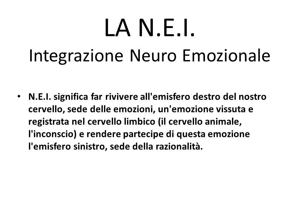 LA N.E.I. Integrazione Neuro Emozionale N.E.I. significa far rivivere all'emisfero destro del nostro cervello, sede delle emozioni, un'emozione vissut