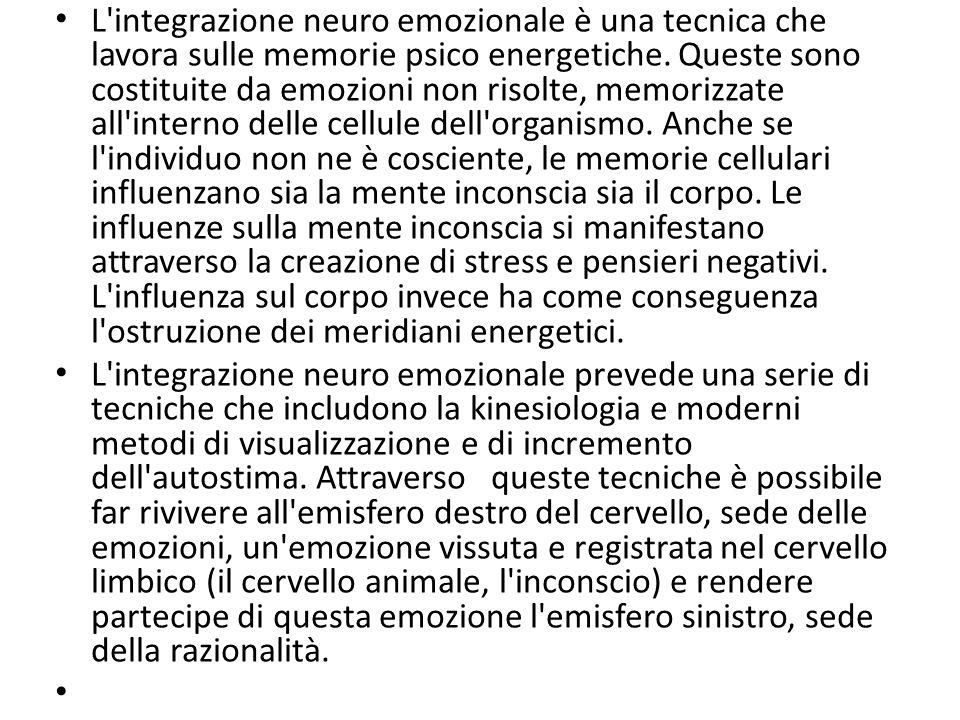 L'integrazione neuro emozionale è una tecnica che lavora sulle memorie psico energetiche. Queste sono costituite da emozioni non risolte, memorizzate