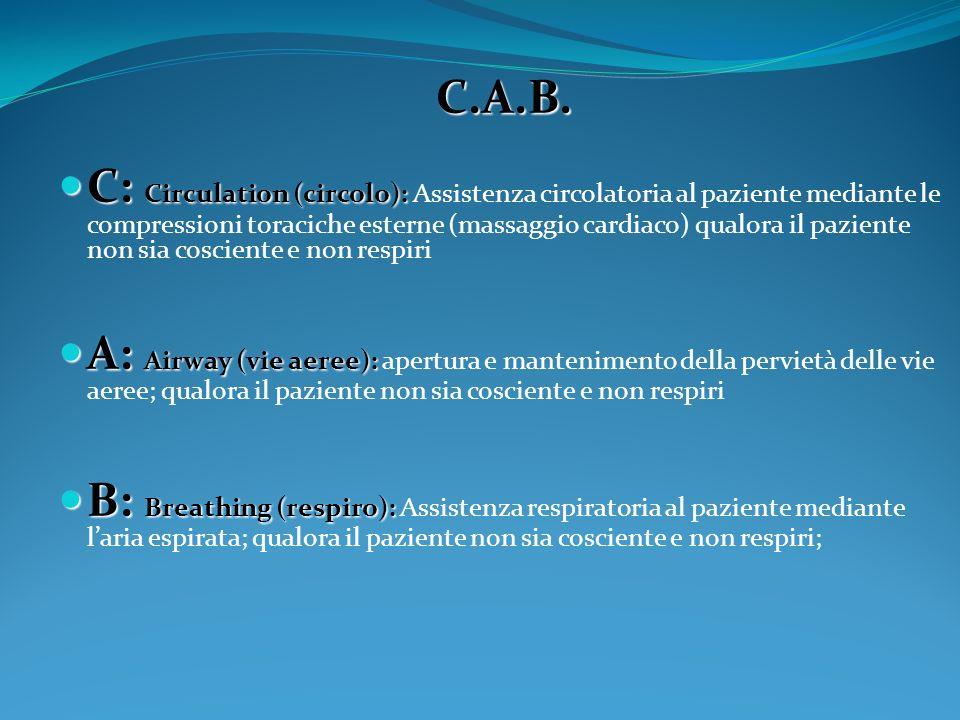 C.A.B. C: Circulation (circolo): C: Circulation (circolo): Assistenza circolatoria al paziente mediante le compressioni toraciche esterne (massaggio c