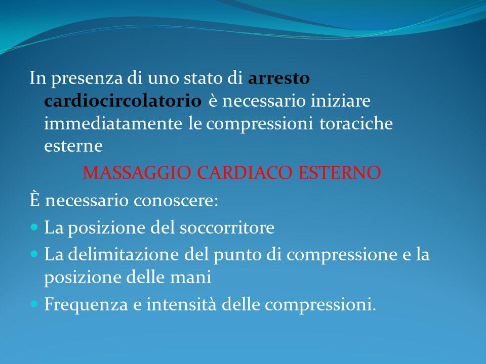 In presenza di uno stato di arresto cardiocircolatorio è necessario iniziare immediatamente le compressioni toraciche esterne MASSAGGIO CARDIACO ESTER