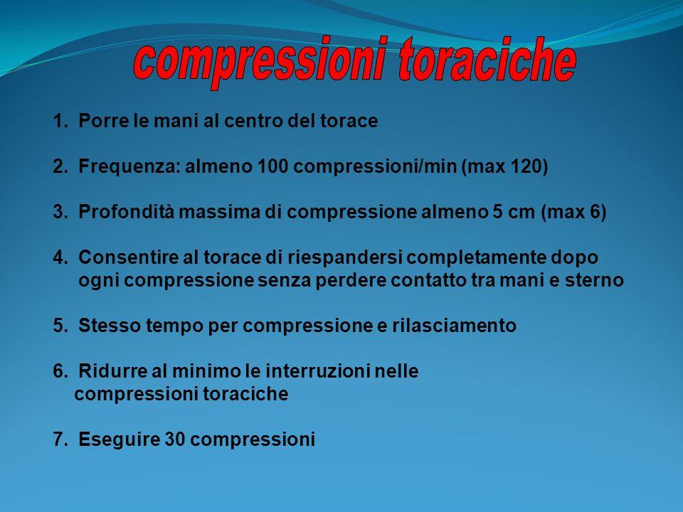 1.Porre le mani al centro del torace 2.Frequenza: almeno 100 compressioni/min (max 120) 3.Profondità massima di compressione almeno 5 cm (max 6) 4.Con