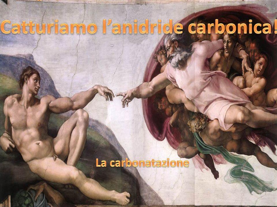 Lidrossido di calcio [Ca(OH) 2 ] assorbe anidride carbonica (CO 2 ) e si trasforma in carbonato di calcio (CaCO 3 ), rilasciando acqua (H 2 O).