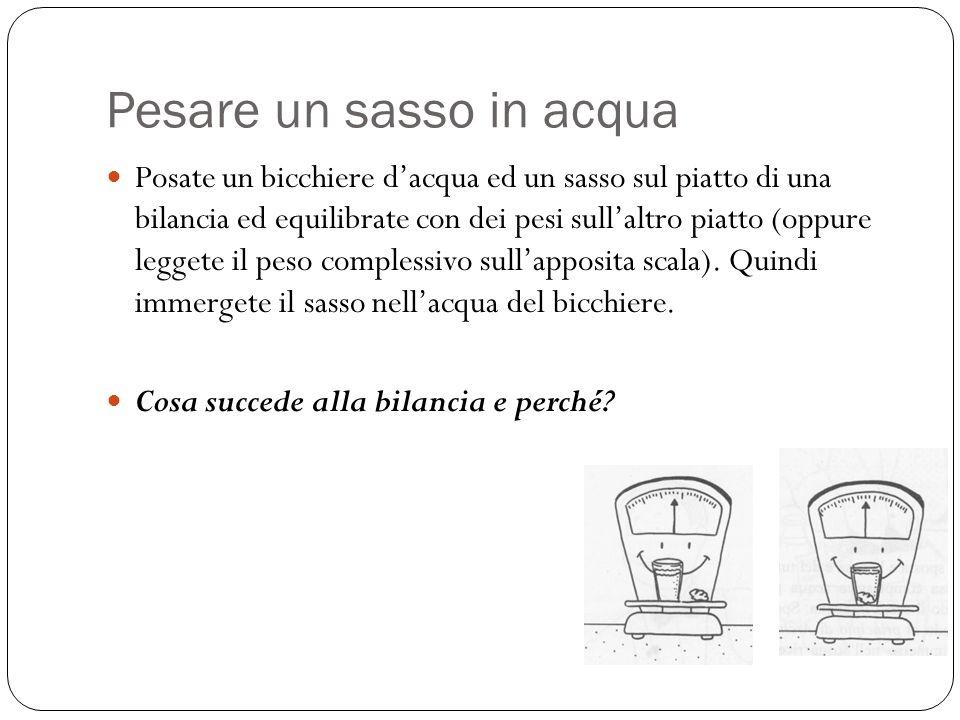 Pesare un sasso in acqua Posate un bicchiere dacqua ed un sasso sul piatto di una bilancia ed equilibrate con dei pesi sullaltro piatto (oppure legget