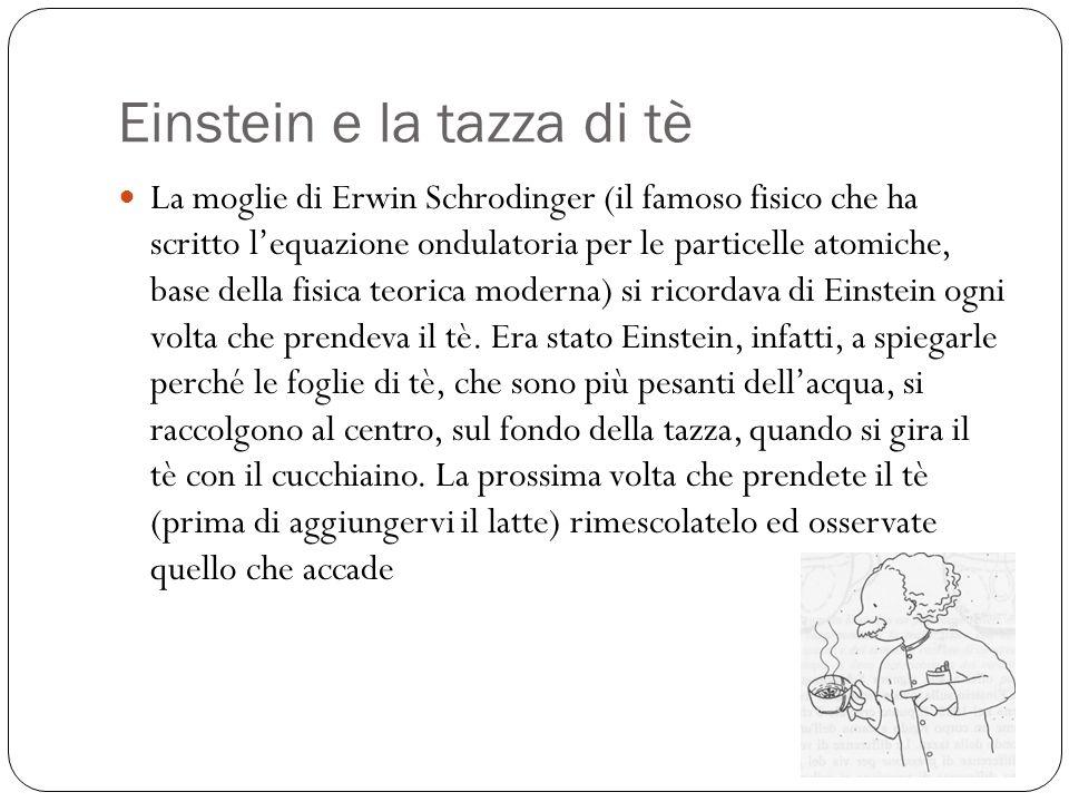 Einstein e la tazza di tè La moglie di Erwin Schrodinger (il famoso fisico che ha scritto lequazione ondulatoria per le particelle atomiche, base dell