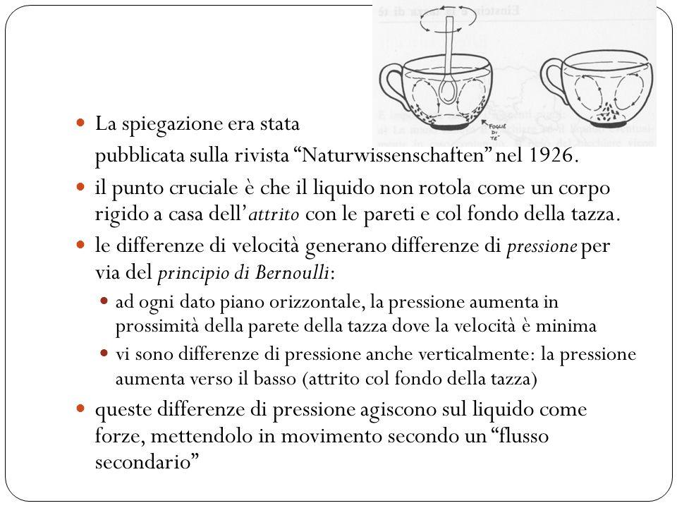 Girando il tè col cucchiaino, la sua superficie si incurva e la direzione del flusso secondario è tale che le foglioline di tè vengono allontanate dal centro.