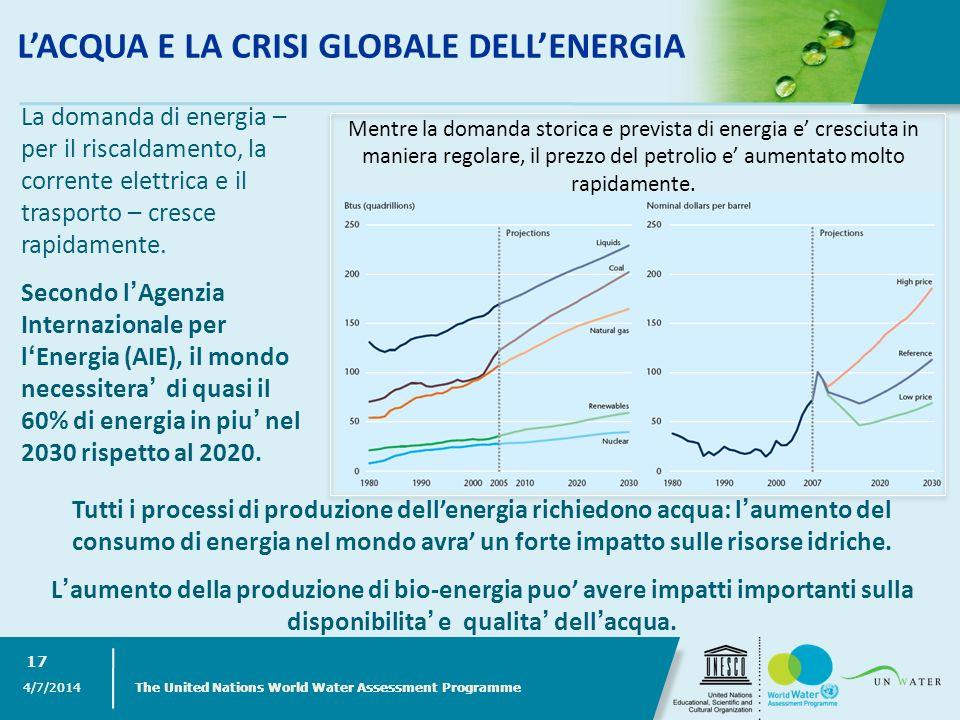 LACQUA E LA CRISI GLOBALE DELLENERGIA 4/7/2014 The United Nations World Water Assessment Programme 17 Tutti i processi di produzione dellenergia richi