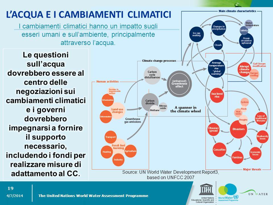 4/7/2014 The United Nations World Water Assessment Programme 19 I cambiamenti climatici hanno un impatto sugli esseri umani e sullambiente, principalm