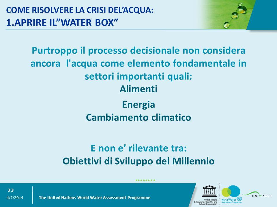 Purtroppo il processo decisionale non considera ancora l'acqua come elemento fondamentale in settori importanti quali: Alimenti Energia Cambiamento cl
