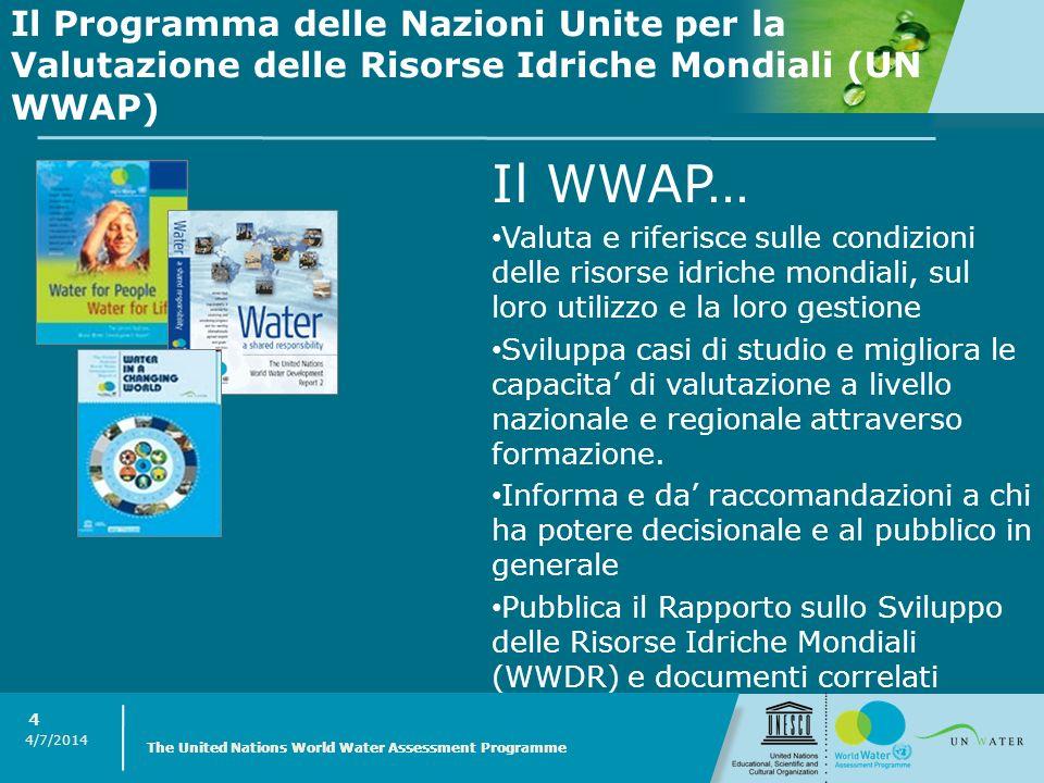 4/7/2014 The United Nations World Water Assessment Programme 4 Il WWAP… Valuta e riferisce sulle condizioni delle risorse idriche mondiali, sul loro u