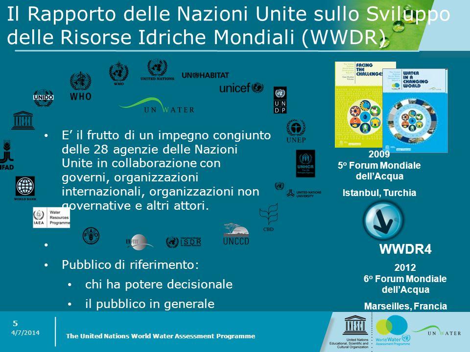 4/7/2014 The United Nations World Water Assessment Programme 5 Il Rapporto delle Nazioni Unite sullo Sviluppo delle Risorse Idriche Mondiali (WWDR) E