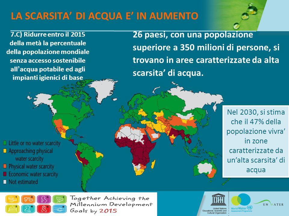 4/7/2014 The United Nations World Water Assessment Programme 7 4/7/2014 The United Nations World Water Assessment Programme LA SCARSITA DI ACQUA E IN