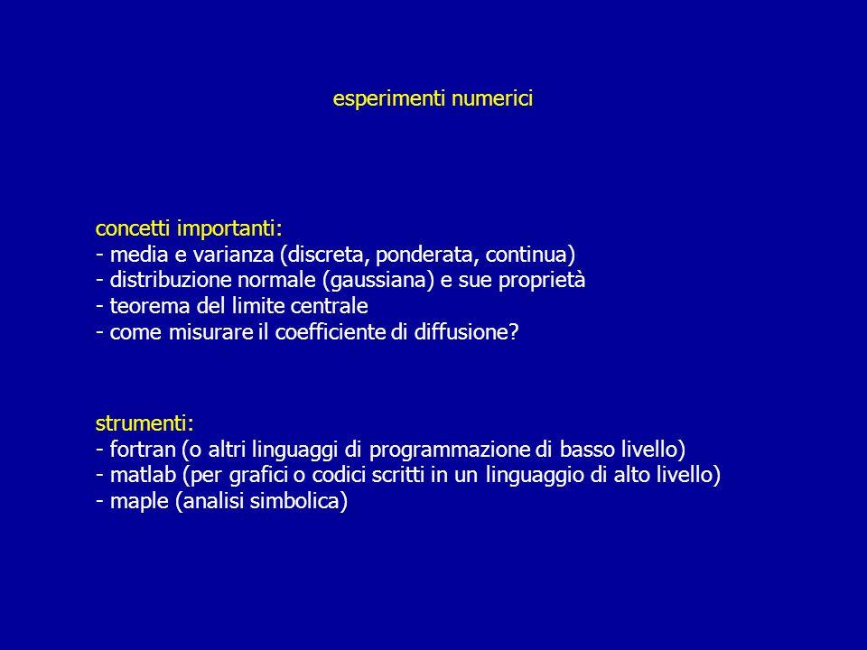 esperimenti numerici concetti importanti: - media e varianza (discreta, ponderata, continua) - distribuzione normale (gaussiana) e sue proprietà - teo