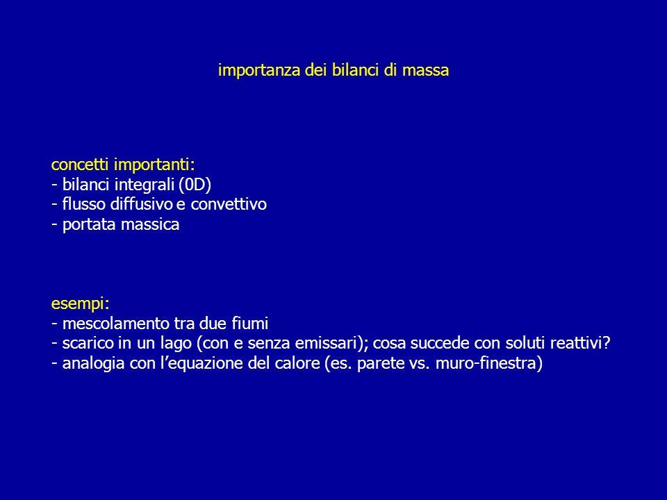 importanza dei bilanci di massa concetti importanti: - bilanci integrali (0D) - flusso diffusivo e convettivo - portata massica esempi: - mescolamento