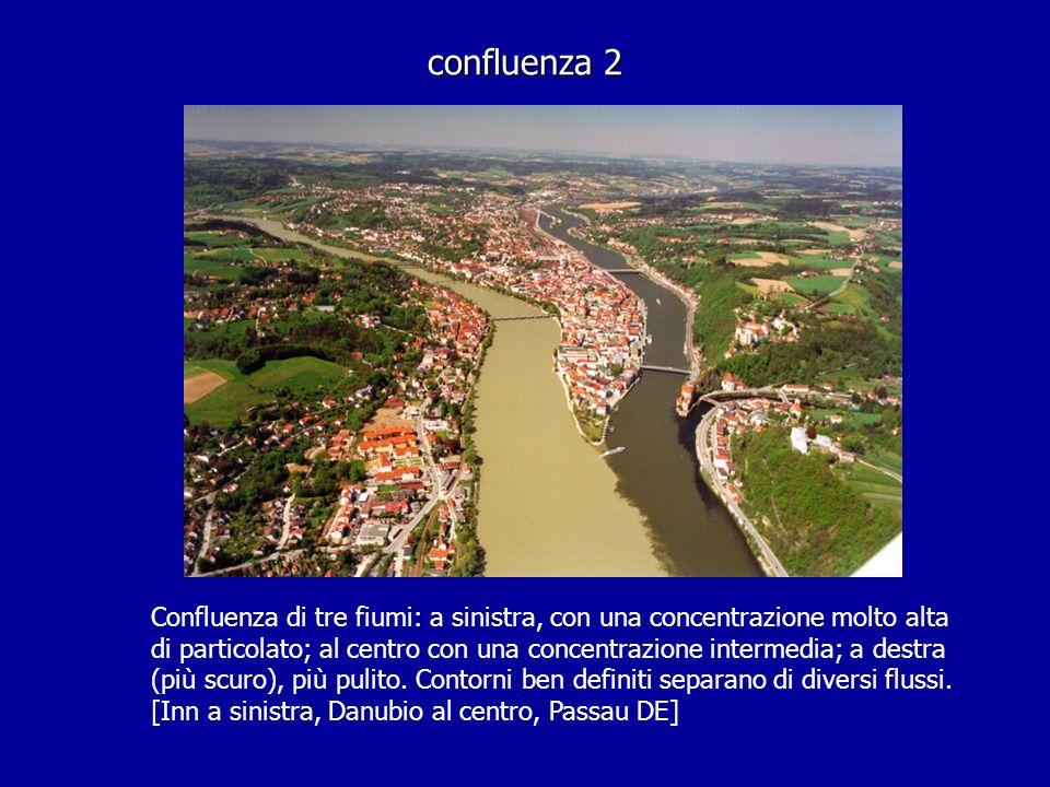 confluenza 2 Confluenza di tre fiumi: a sinistra, con una concentrazione molto alta di particolato; al centro con una concentrazione intermedia; a des