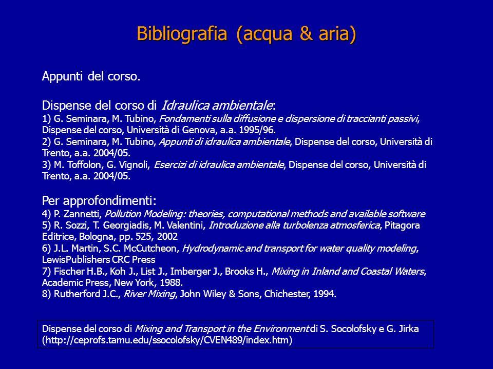 Appunti del corso. Dispense del corso di Idraulica ambientale: 1) G. Seminara, M. Tubino, Fondamenti sulla diffusione e dispersione di traccianti pass