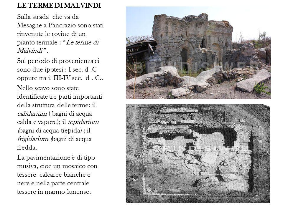 LE TERME DI MALVINDI Sulla strada che va da Mesagne a Pancrazio sono stati rinvenute le rovine di un pianto termale : Le terme di Malvindi.