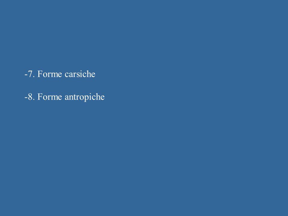 -7. Forme carsiche -8. Forme antropiche