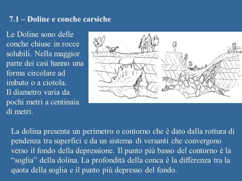 7.1 – Doline e conche carsiche Le Doline sono delle conche chiuse in rocce solubili. Nella maggior parte dei casi hanno una forma circolare ad imbuto