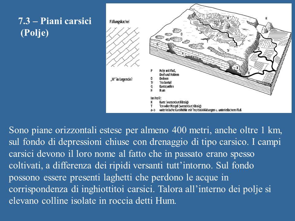 7.3 – Piani carsici (Polje) Sono piane orizzontali estese per almeno 400 metri, anche oltre 1 km, sul fondo di depressioni chiuse con drenaggio di tip