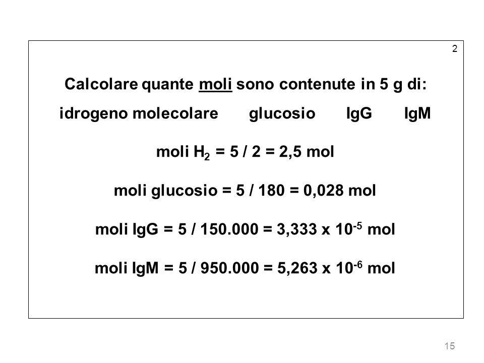 15 2 Calcolare quante moli sono contenute in 5 g di: idrogeno molecolare glucosio IgG IgM moli H 2 = 5 / 2 = 2,5 mol moli glucosio = 5 / 180 = 0,028 m