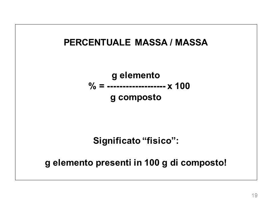 19 PERCENTUALE MASSA / MASSA g elemento % = ------------------- x 100 g composto Significato fisico: g elemento presenti in 100 g di composto!