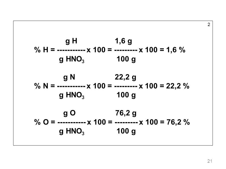 21 2 g H 1,6 g % H = ----------- x 100 = --------- x 100 = 1,6 % g HNO 3 100 g g N 22,2 g % N = ----------- x 100 = --------- x 100 = 22,2 % g HNO 3 1