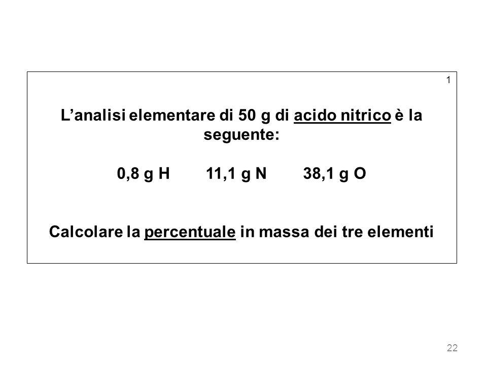 22 1 Lanalisi elementare di 50 g di acido nitrico è la seguente: 0,8 g H 11,1 g N 38,1 g O Calcolare la percentuale in massa dei tre elementi