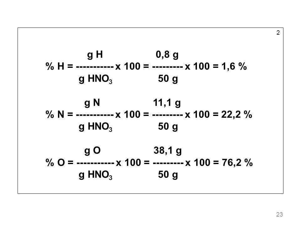 23 2 g H 0,8 g % H = ----------- x 100 = --------- x 100 = 1,6 % g HNO 3 50 g g N 11,1 g % N = ----------- x 100 = --------- x 100 = 22,2 % g HNO 3 50