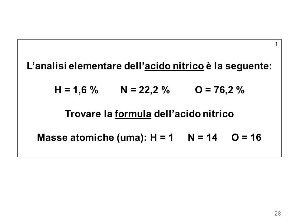 28 1 Lanalisi elementare dellacido nitrico è la seguente: H = 1,6 % N = 22,2 % O = 76,2 % Trovare la formula dellacido nitrico Masse atomiche (uma): H