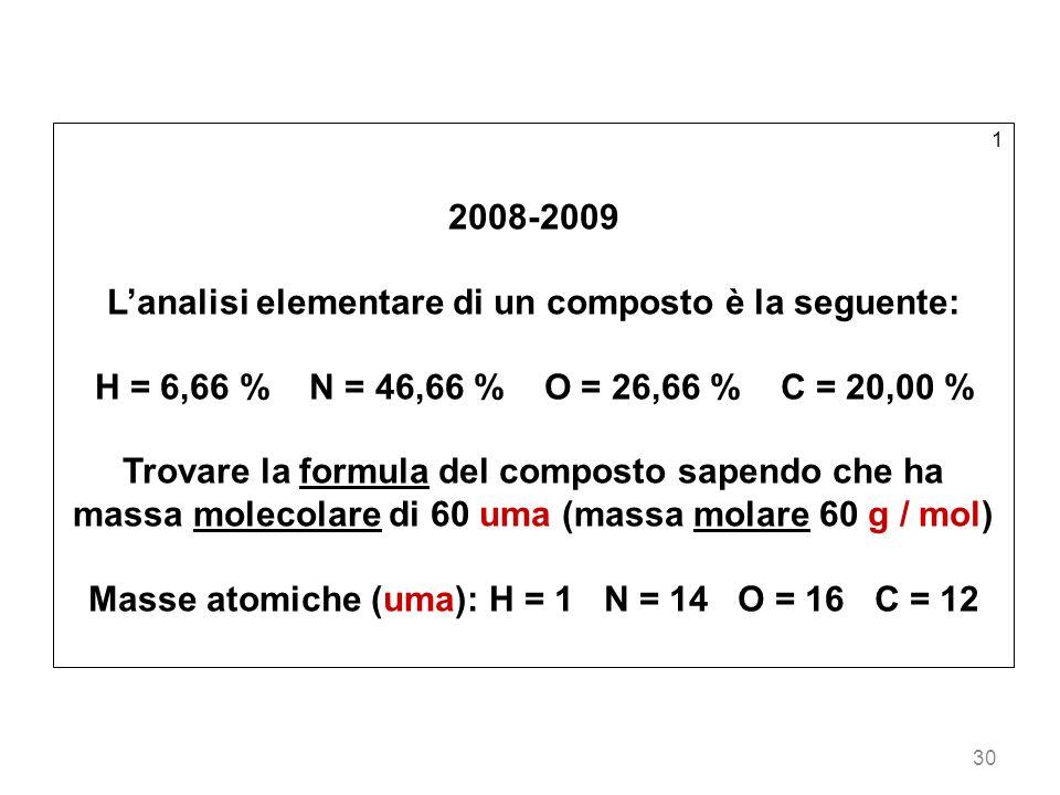 30 1 2008-2009 Lanalisi elementare di un composto è la seguente: H = 6,66 % N = 46,66 % O = 26,66 % C = 20,00 % Trovare la formula del composto sapend