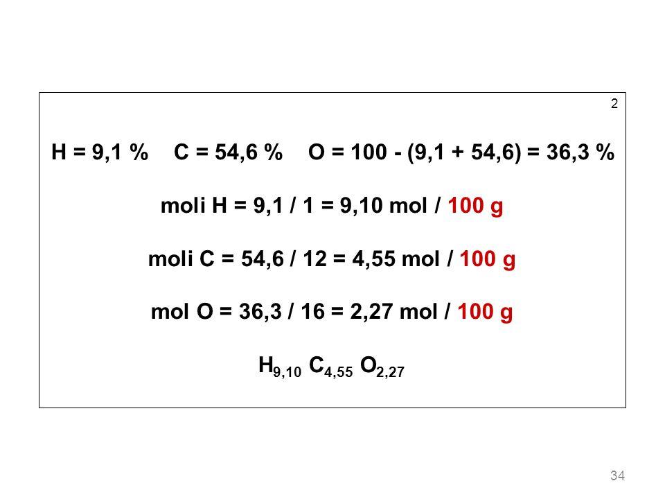 34 2 H = 9,1 % C = 54,6 % O = 100 - (9,1 + 54,6) = 36,3 % moli H = 9,1 / 1 = 9,10 mol / 100 g moli C = 54,6 / 12 = 4,55 mol / 100 g mol O = 36,3 / 16