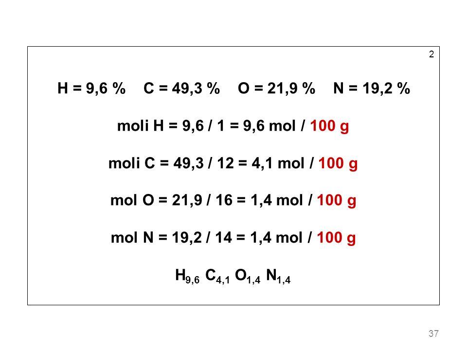 37 2 H = 9,6 % C = 49,3 % O = 21,9 % N = 19,2 % moli H = 9,6 / 1 = 9,6 mol / 100 g moli C = 49,3 / 12 = 4,1 mol / 100 g mol O = 21,9 / 16 = 1,4 mol /
