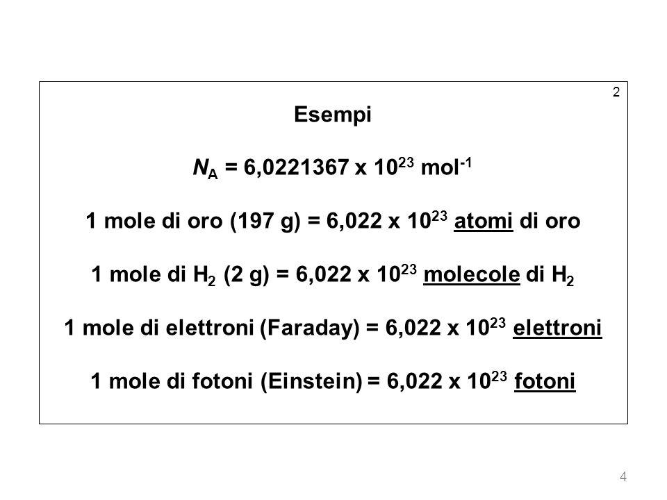 4 2 Esempi N A = 6,0221367 x 10 23 mol -1 1 mole di oro (197 g) = 6,022 x 10 23 atomi di oro 1 mole di H 2 (2 g) = 6,022 x 10 23 molecole di H 2 1 mol