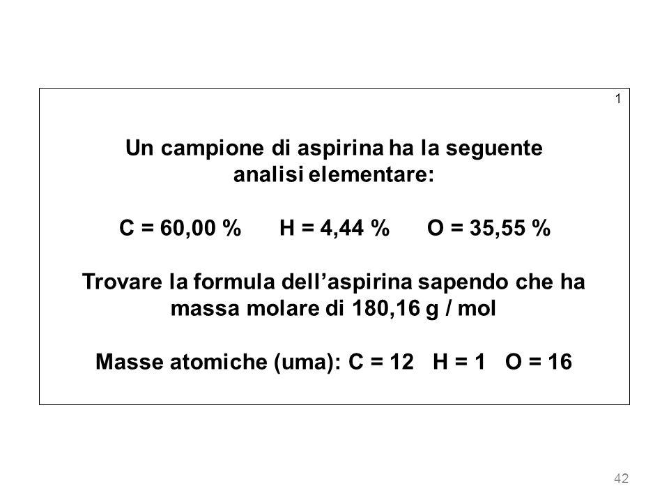 42 1 Un campione di aspirina ha la seguente analisi elementare: C = 60,00 % H = 4,44 % O = 35,55 % Trovare la formula dellaspirina sapendo che ha mass