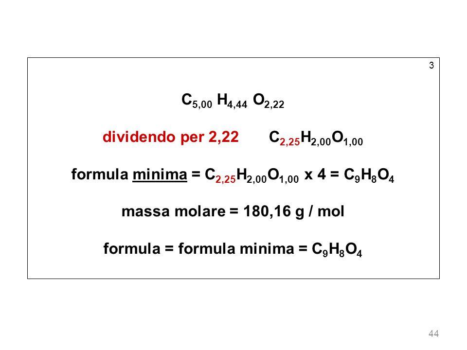 44 3 C 5,00 H 4,44 O 2,22 dividendo per 2,22 C 2,25 H 2,00 O 1,00 formula minima = C 2,25 H 2,00 O 1,00 x 4 = C 9 H 8 O 4 massa molare = 180,16 g / mo