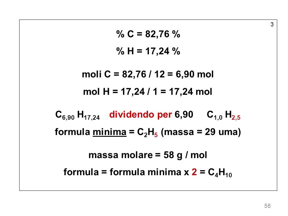 56 3 % C = 82,76 % % H = 17,24 % moli C = 82,76 / 12 = 6,90 mol mol H = 17,24 / 1 = 17,24 mol C 6,90 H 17,24 dividendo per 6,90 C 1,0 H 2,5 formula mi