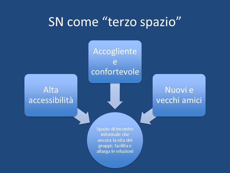 SN come terzo spazio Spazio di incontro informale che ancora la vita dei gruppi; facilita e allarga le relazioni Alta accessibilità Accogliente e conf