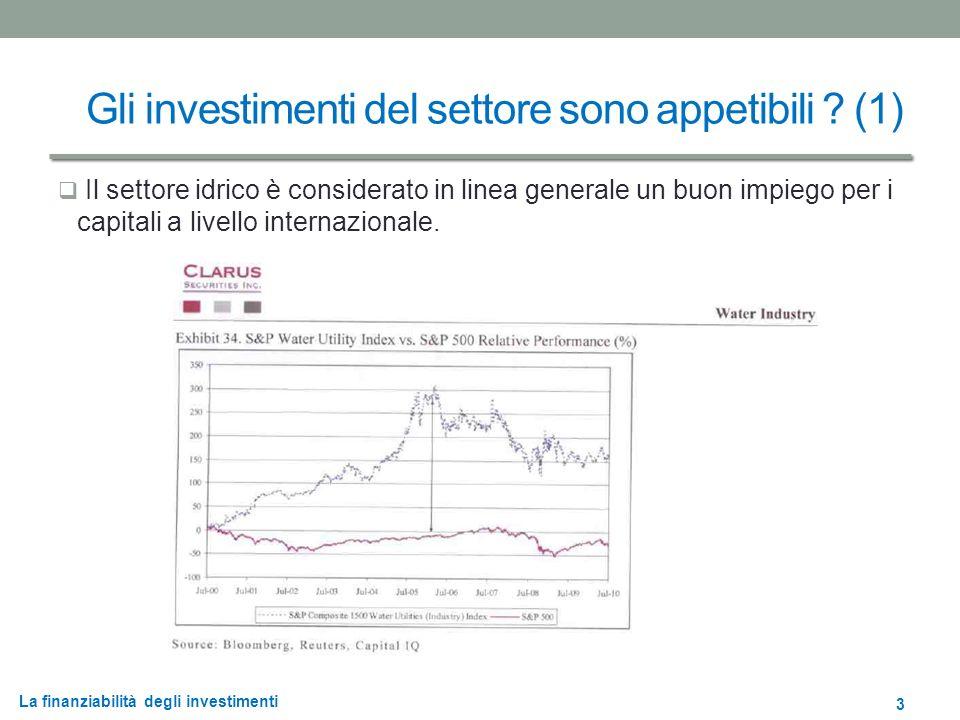 La finanziabilità degli investimenti Gli investimenti del settore sono appetibili .